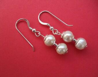 Elegant Freshwater Pearl Earrings, Drop Dangle Earrings, Sterling Silver Hooks, Classic, Jewelry, UK Seller