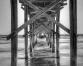 Black and White photo of Holden Beach Fishing Pier (1) 8x10 print, luste finish