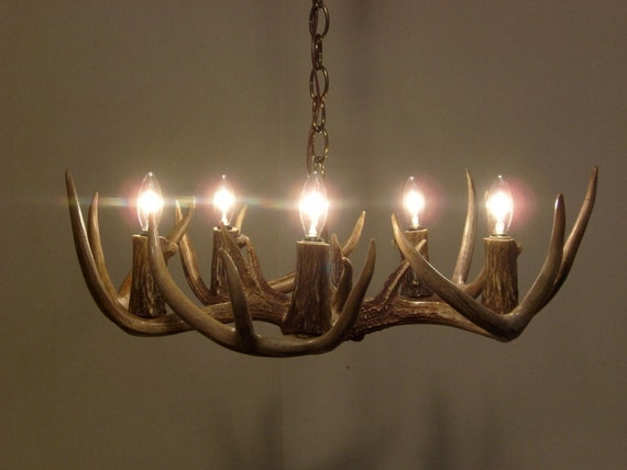 light whitetail deer antler chandelier 19 22 dia x 6 8 h size. Black Bedroom Furniture Sets. Home Design Ideas