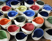Pinch-Pourer, hand thrown white stoneware, & coloured slip interior. Size 7cm- 12 cm high, 4-10 cm width.
