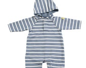 Stripy  eco cotton hoody baby suit