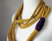 Goldenrod and Eggplant Purple Braided Jersey Fabric Necklace