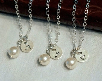 Personalized Bridesmaids Gifts Set of 6 Jewelry Bridesmaid Pearl Jewelry Wedding Jewelry Initial Necklace