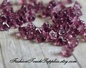 Glass Beads, Bead, Supplies, Czech glass Amethyst Czech Glass 4x6mm Small Baby Bell Flowers 15