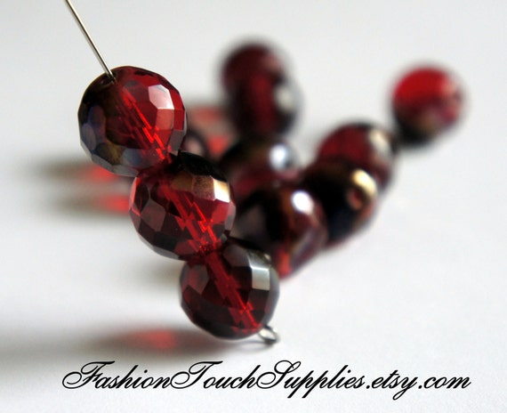 Red Czech Glass Faceted Bead 16mm Round Bead - 6