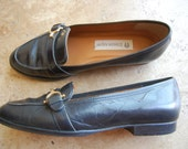 Dark Blue Leather Loafers by Etienne Aigner, size 6.5 M 'Tracy'