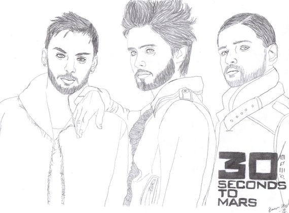 30 SECONDS to MARS Band Original Art Drawing Jared & Shannon LETO Tomo Milicevic Post-grunge