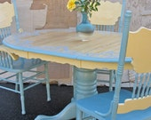 Vintage Upcycled Lace Pattern Dining Table