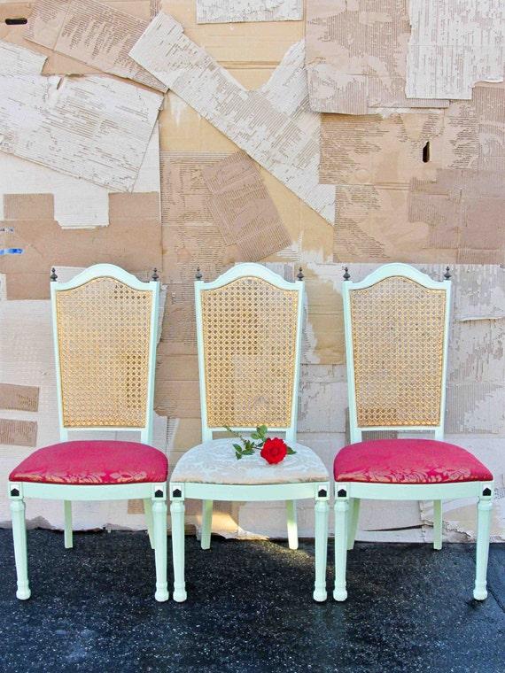3 Retro Geometric Upcycled Chairs