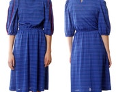 80s Day Dress // red blue keyhole back striped puff sleeve knee length medium large