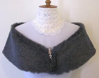 Grey faux fur stole, wrap, shrug, jewelled clip, bridal accessory