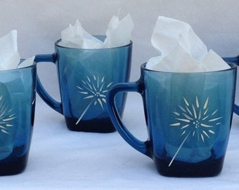 Blue Glass Mugs Hand Painted with Dandelion Puffs - Set of 4