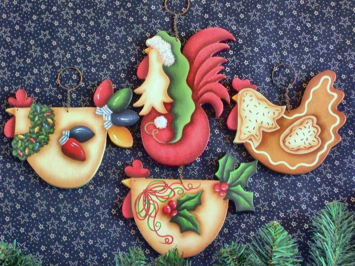 CC106 Funky Christmas Chickens Ornaments E by ...