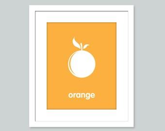 Nursery Art Print - Orange - 8x10 poster - nursery art - child's room decor
