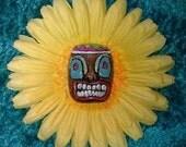 Tiki yellow daisy flower hair clip