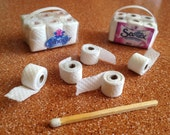 Toilet Paper Miniature package of 12 rolls to decorate your bathroom's dollhouse
