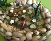 Koi Pond Dollhouse Miniature with koi fishes, water lilies, resin as a water and real stones for garden's dollhouse
