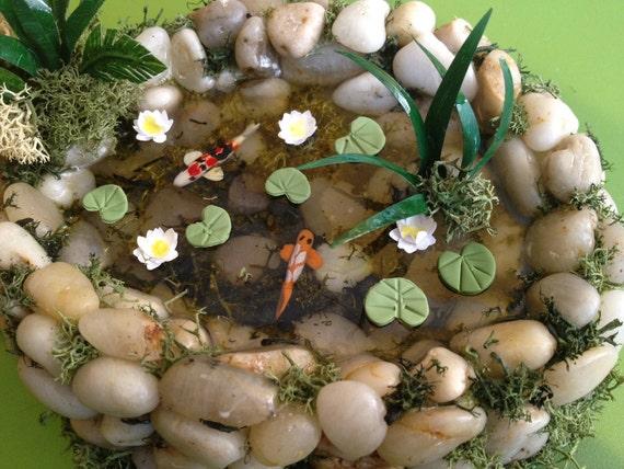 Koi pond dollhouse miniature with koi fishes water lilies for Miniature koi fish