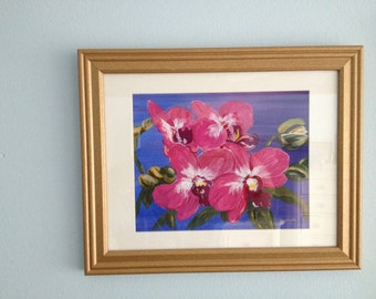 Pink Orchids in a 14 x 16 Gold Frame