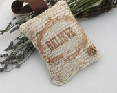 Lavender Bag Vintage Hand Printed Fabric Lace Edging Shabby Chic Style