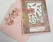 Anniversary Card Butterfly Garden in Pink and Green