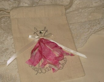 Muslin Party Favor Gift Pouches Adorned with Vintage Dress