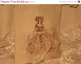 Marie Antoinette Muslin Wedding Shower Party Favor Gift Pouches Adorned with Lace