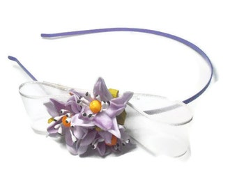 headband, lilac headband, Hair Accessory, Wedding Headpiece , Lilac Bridal Hair Flower, flower girl headband