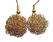 Statement Jewelry Christmas Earring Gift Wire Wrapped Ball Earrings. Gold Earrings wire ball earrings, bridesmaid gift,