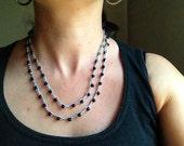 Beaded Crochet necklace / bracelet, Black beaded necklace boho chic bohemian style beach jewelry