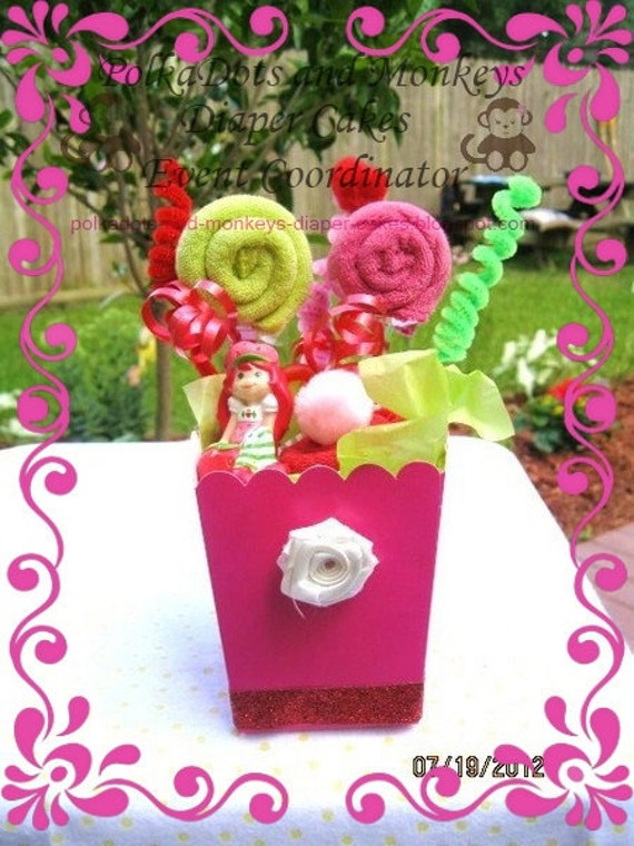 strawberry shortcake baby shower popcorn box decoration or gift for