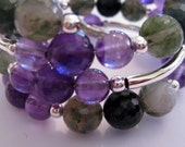 Beaded Bangle, Memory Wire Bangle, Agate Stone Bracelet