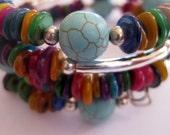 Beaded Bangle, Memory Wire Bangle, Mother of Pearl, Semi Precious Stone