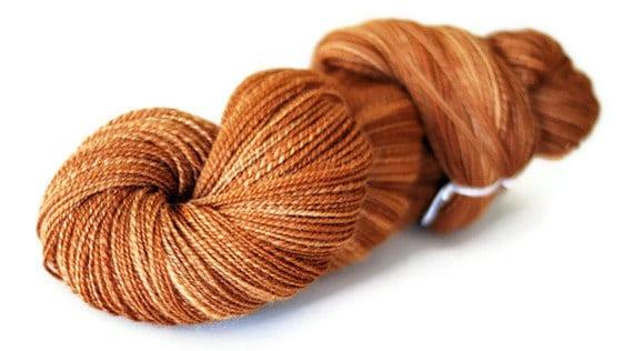 """FREE SHIPPING Handspun Yarn- Fingering Weight Falkland Wool, """"Sienna"""""""