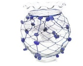OOAK Glass Candle Holder:  Wire Wrapped with Gemstones