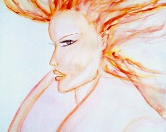 Fashion Illustration Portrait Wall Art Watercolor Painting Matted Signed & Dated By Artist