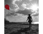 Stock SALE 8x10 Signed Fine Art Photography Print Me and My Shadow- Girl with red balloon on beach photograph-home decor