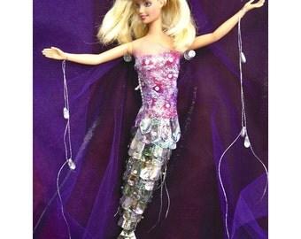 iLARTS REBoRn ALteRed ART DOLL BARBie MERMAID ABALOne TAiL pink Costume