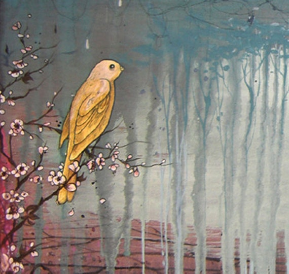 limited edition fine art wall print mounted on wood with resin. Reproduction of original mixed media bird landscape painting