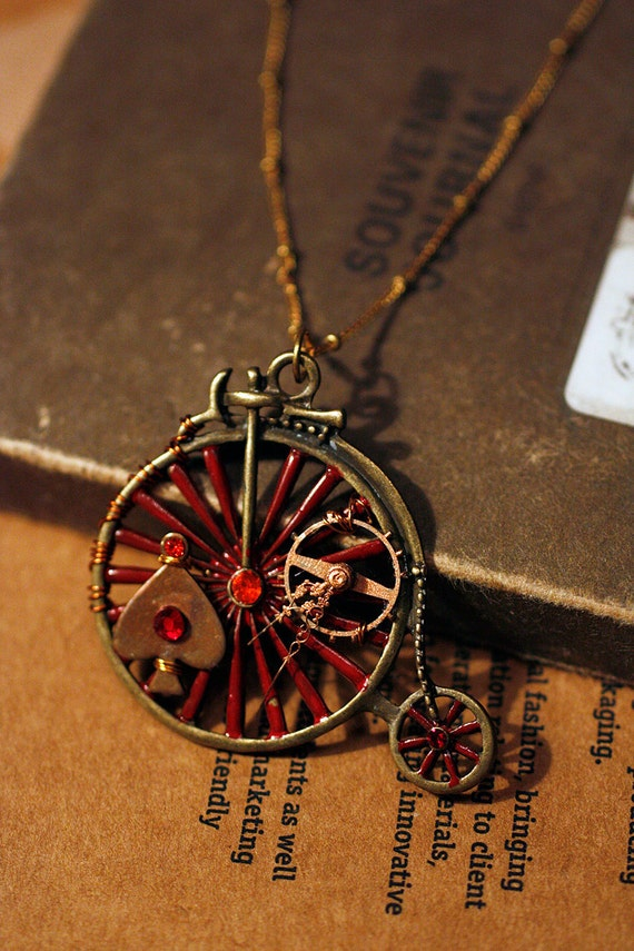 OOAK Steampunk Antiqued brass bicycle large pendant (7cm) with chain