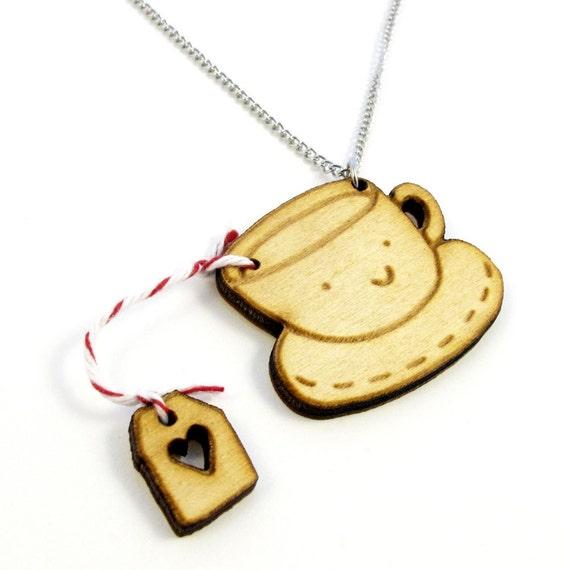 Tea Time Wood Charm Necklace