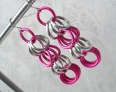 Femme Fatale - Pink and Silver Chainmail Earrings - Lightweight Earrings Dangle Earrings Long Earrings Girls Earrings Chainmaille Jewelry