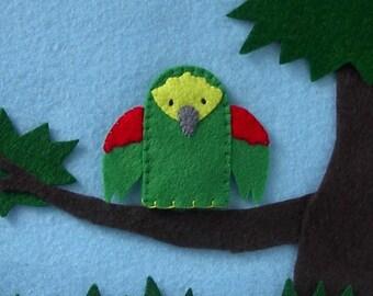 Green Parrot Bird Finger Puppet - Parrot Finger Puppet - Green Parrot Puppet - Felt Parrot Finger Puppet - Felt Bird Puppet