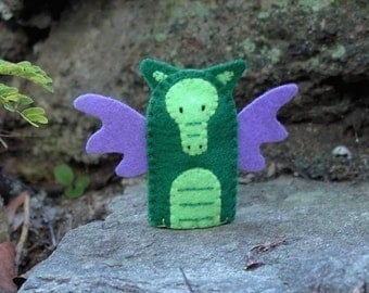 Green Dragon Finger Puppet - Felt Dragon Puppet - Felt Finger Puppet - Dragon Toy Puppet - Fantasy Puppet
