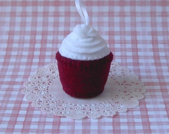 Mini Southern Red Velvet Plush Cupcake with Rose Ornament - Cupcake Ornament - Mini Plush Cupcake Holiday Ornament Cupcake