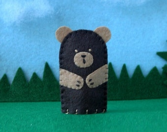 Dark Brown Bear Finger Puppet - Felt Bear Puppet - Felt Finger Puppet Bear - Felt Animal Puppet - Animal Finger Puppet