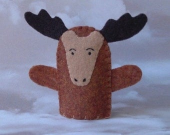 Moose Finger Puppet - Felt Animal Puppet - Wildlife Finger Puppet Moose - Felt Moose Puppet