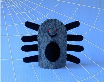 Sale of the Day - Spider Finger Puppet - Felt Spider Puppet - Arachnid - Bug Puppet - Halloween Finger Puppet - Felt Finger Puppet Spider