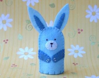 Pale Blue Bunny Finger Puppet - Felt Bunny Puppet - Felt Animal Finger Puppet - Rabbit Finger Puppet - Easter Finger Puppet Bunny Rabbit
