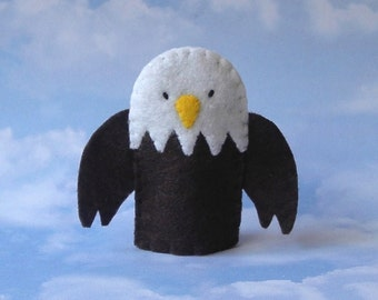 Eagle Finger Puppet - Bald Eagle Puppet - Patriotic Bird - Felt Eagle Finger Puppet - Felt Bird Puppet